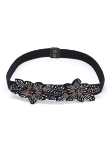 Beaded Flower Embellished Belt