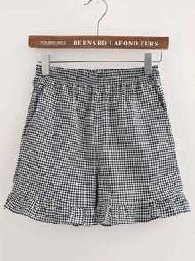 Elastic Waist Checkered Ruffle Hem Shorts