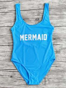 Letter Print Scoop Neck Beach Swimsuit