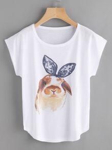 Rabbit Print Cap Sleeve Tee