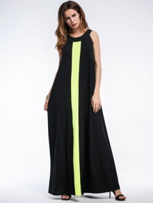 Contrast Panel Full Length Dress