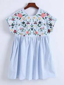 Flower Embroidery Cap Sleeve Dress