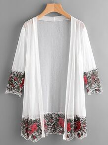 Contrast Hollow Crochet Trim Kimono