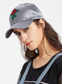 Flower Embroidery Satin Baseball Cap