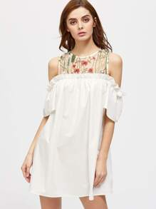 Embroidered Mesh Yoke Open Shoulder Frill Dress
