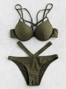 Cutout Front Bustier Bikini Set