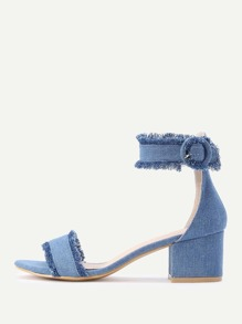 Raw Trim Block Heeled Denim Sandals