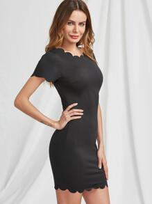 Scallop Edge Detail Formfitting Dress