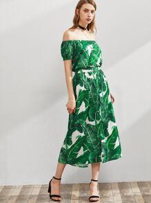 Palm Leaf Print Bardot Dress