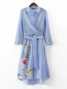 Tie Waist Pinstripe High Low Shirt Dress