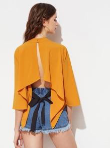 Kimono Sleeve Split Back Hanky Hem Top