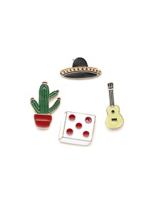 Cactus And Guitar Cute Brooch Set