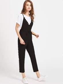 Criss Cross Back Scallop Trim Drawstring Jumpsuit