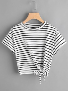 Striped Side Knotted Tee