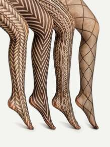 Laser Cut & Geometric Pattern Tights 4 Pairs