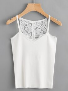 Contrast Eyelash Lace Buttoned Knitted Cami Top