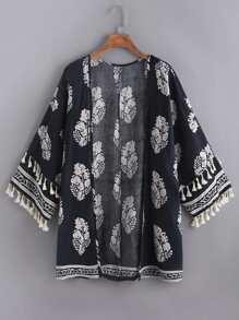 Leaf Print Tassel Trim Kimono
