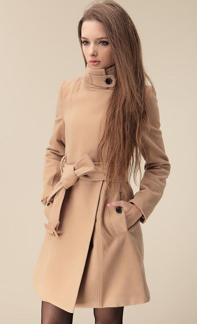 Camel Wide Lapel Belt Oblique Zipper Wool-blend Coat EmmaCloth ...