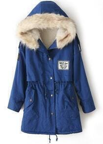 Royal Blue Fur Hooded Zipper Embellished Fleece Inside Military Coat