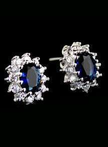 Blue Gemstone Flower Stud Earrings