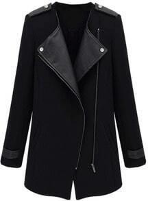 Black Contrast PU Leather Trims Oblique Zipper Coat