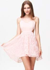 Pink Criss Cross Embroidered Flare Chiffon Dress