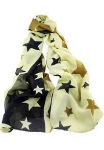 Yellow Stars Print Scarves