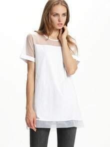 White Contrast Sheer Mesh Yoke Shift Babydoll Dress