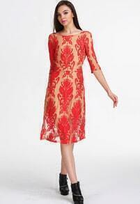 Red Long Sleeve Haute Embroidered Backless Lace Dress