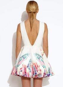 White Sleeveless Print V Back Flare Dress