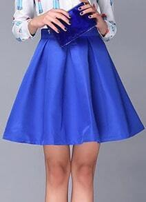 Blue High Waist A Line Flare Skirt