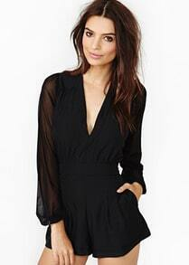 Black V Neck Sheer Mesh Chiffon Jumpsuit