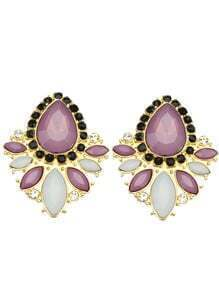 Purple White Gemstone Gold Diamond Earrings