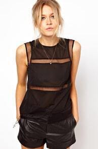 Black Sleeveless Sheer Mesh Blouse
