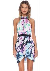 Multicolor Halter Floral Backless Bodycon Dress