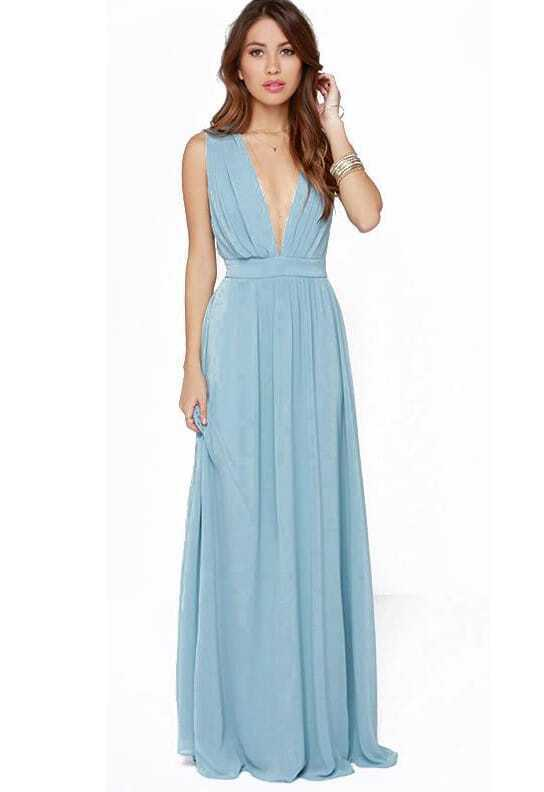 Blue Deep V Neck Midriff Elegance Maxi Dress EmmaCloth-Women Fast ...
