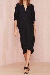 Black V Neck Half Sleeve Loose Dress