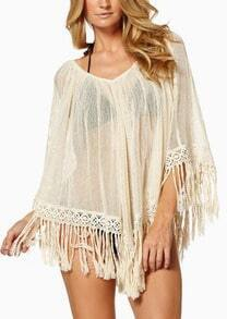 Beige With Tassel Cape Dress