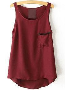 Red Round Neck Pocket Chiffon Tank Top