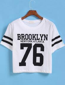 White Short Sleeve BROOKLYN 76 Print Number Comfort Racewear Monogrammed Crop T-Shirt