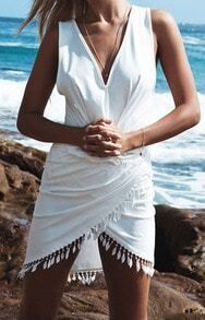 White V Neck Sleeveless Tassel Fringed Dress