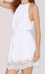 White Halter Lace Hem Shift Dress