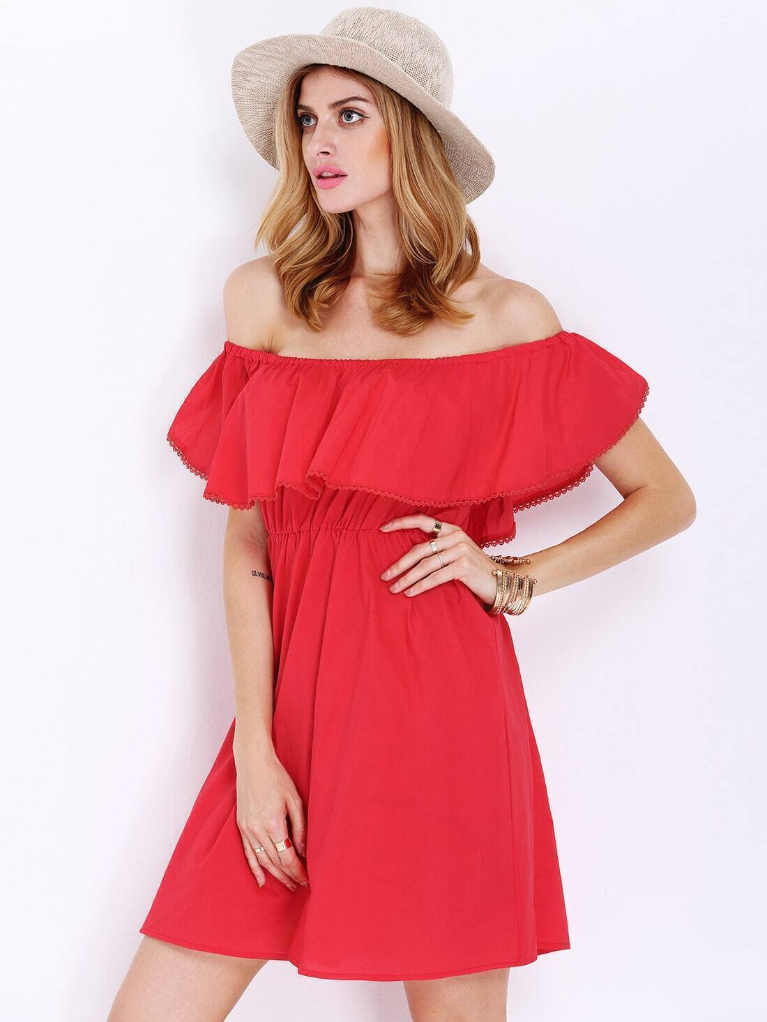 0262d0662e Red Off The Shoulder Frills Wrinkle Ruffle Dress EmmaCloth-Women ...