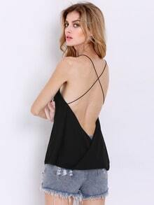 Black Criss Cross Backless Loose Cami Top