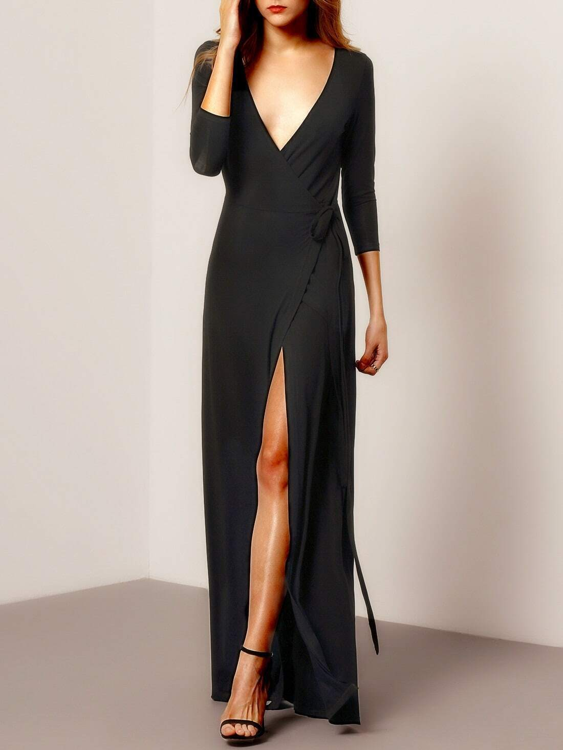 Black Deep V Neck Split Maxi Dress Emmacloth Women Fast Fashion Online