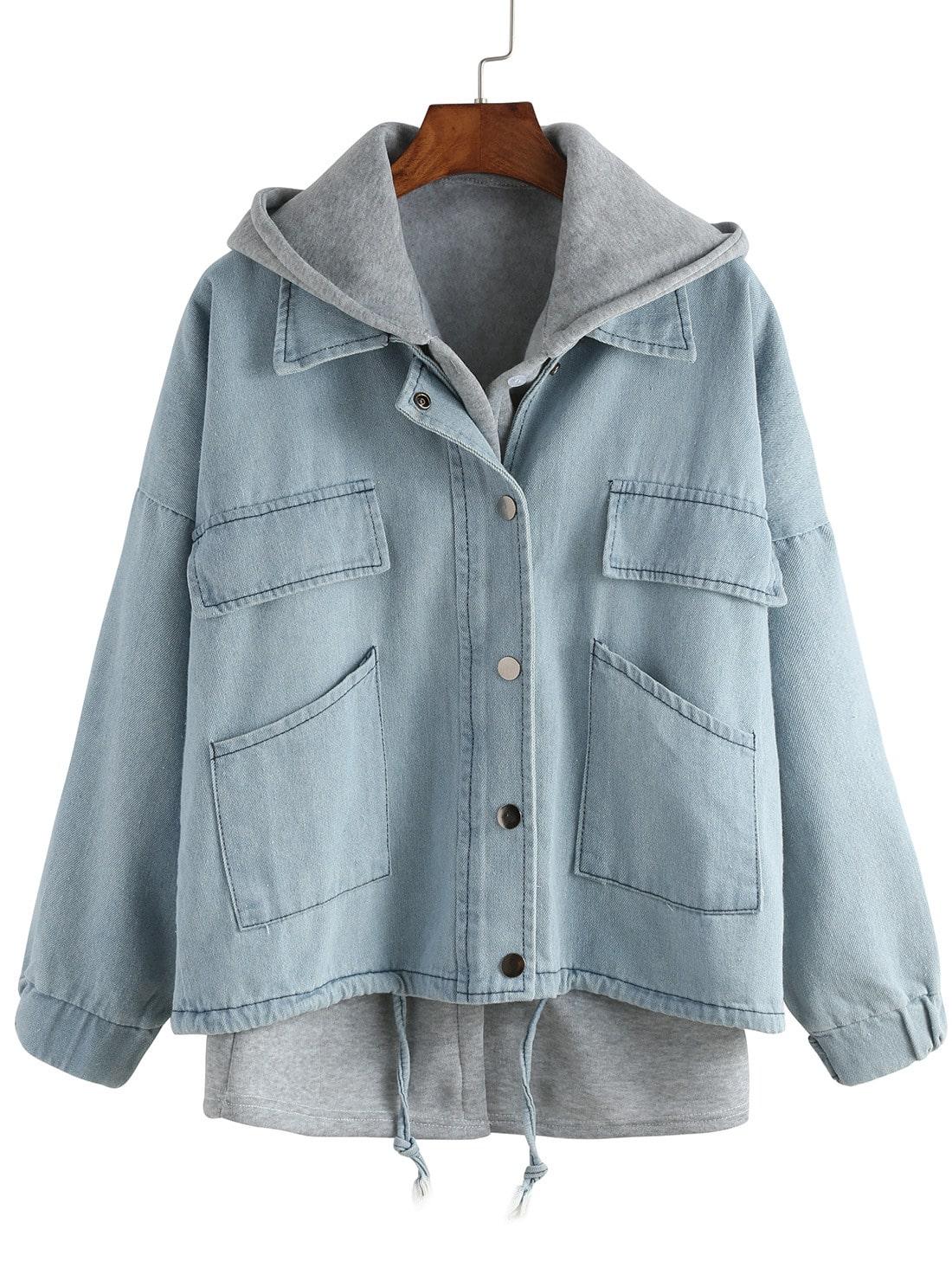blue hooded drawstring denim two pieces outerwear emmacloth women rh emmacloth com outerwear fahrenheit outerwear jacke damen