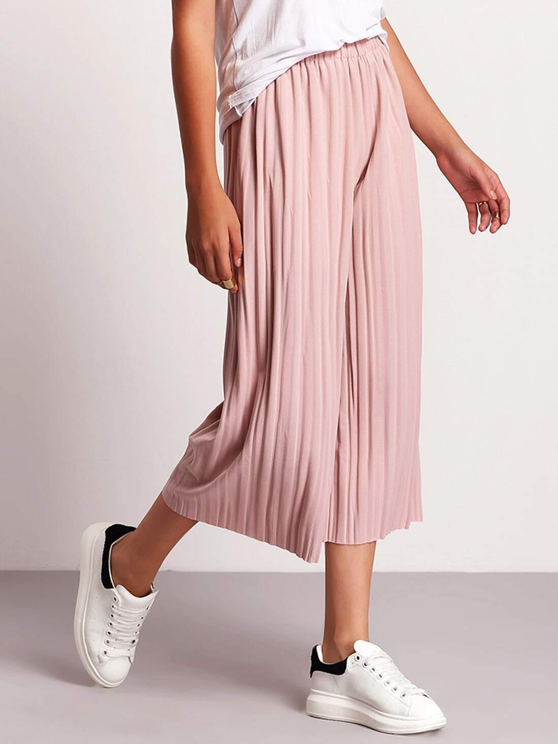 1f0399ece1 Pink Elastic Waist Pleated Pant EmmaCloth-Women Fast Fashion Online