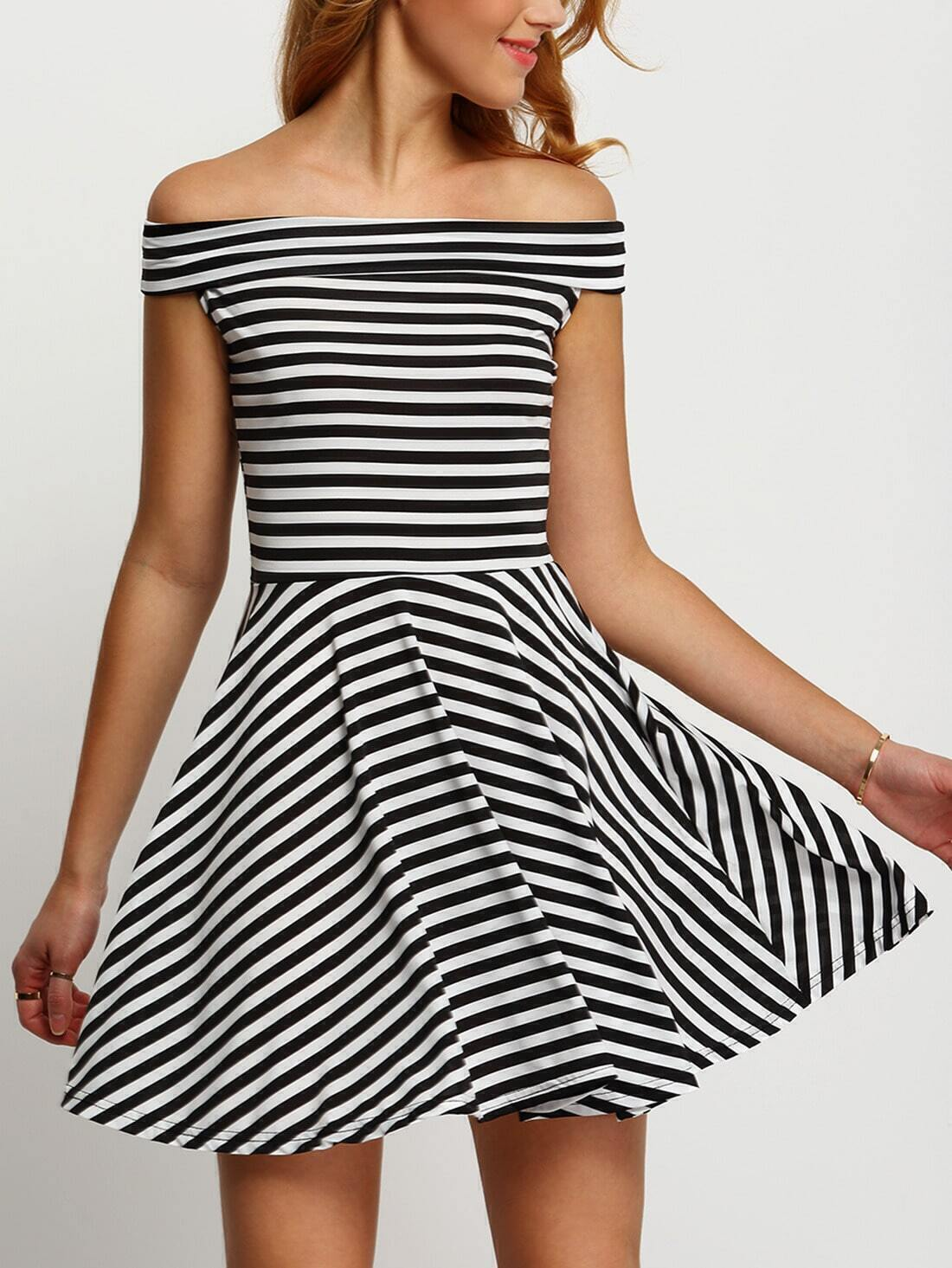 7bbed10553383 Black White Boat Neck Striped Flare Dress EmmaCloth-Women Fast ...