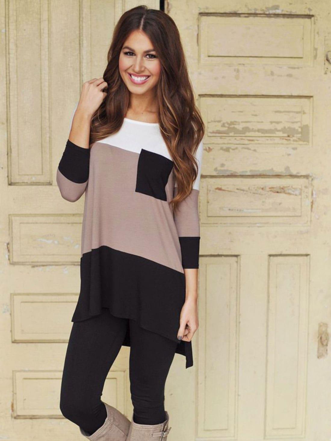 ec4347525b Black White Color Block Pockets Dress EmmaCloth-Women Fast Fashion ...