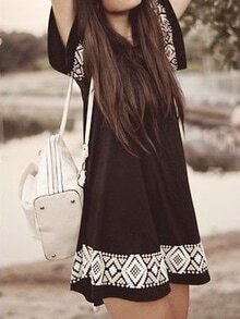 Black Short Sleeve Embroidered A-line Dress